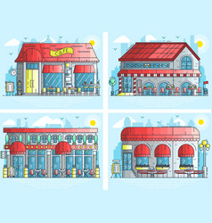 set of exteriors of little cute cafe buildings on vector image