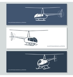 Set of helicopter silhouettes vector image