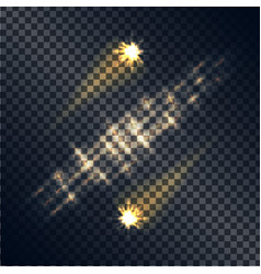 shooting stars with traces and line light set vector image