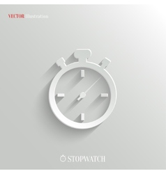 Stopwatch icon - white app button vector image