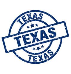 Texas blue round grunge stamp vector