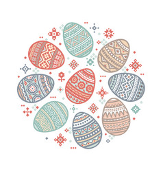 the circular template of colorful easter egg vector image