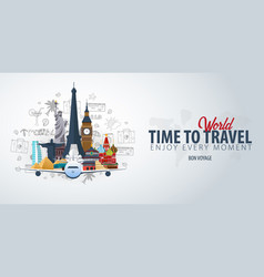 travel around the world time to travel banner vector image