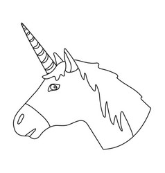 unicorn icon in outline style isolated on white vector image