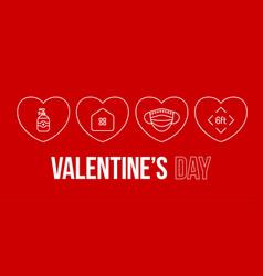 Valentine day coronavirus outline heart banner vector