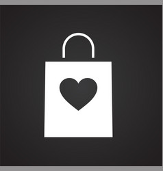 Valentines day gift icon on black background for vector