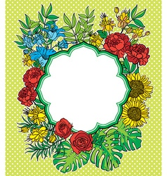 Vintage flower frame with text place vector