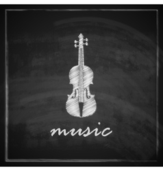 Vintage with the violin on blackboard background vector