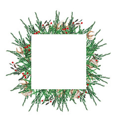 Watercolor christmas frame square shape template vector