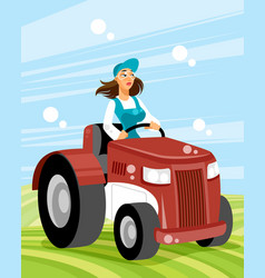 Woman driver on transport vector