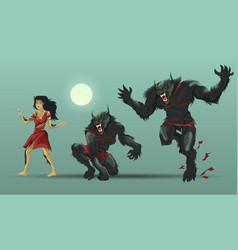 woman transforming werewolf vector image