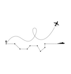world with plane and train vector image