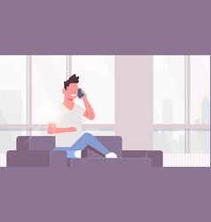 young man phone calling happy guy sitting couch vector image