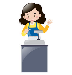 female clerk working behind the desk vector image