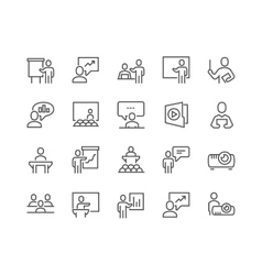 Line Business Presentation Icons vector image vector image