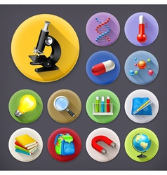 Science and education long shadow icon set vector image vector image