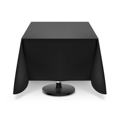 square dining table with black tablecloth and vector image
