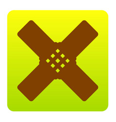 aid sticker sign brown icon at green vector image