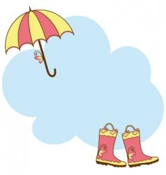 Cute rain boots umbrella vector