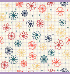 seamless pattern with flowers in warm colors vector image vector image