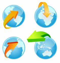 world with arrow vector image vector image