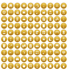 100 cleaning icons set gold vector image