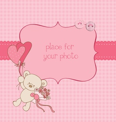 baby greeting card with photo frame and place for vector image vector image