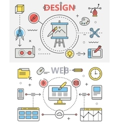 Design and Web development flat thin line banners vector image