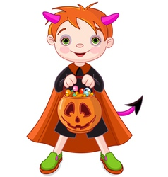 Halloween trick or treating boy vector image vector image