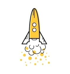Line start up rocket icon vector image