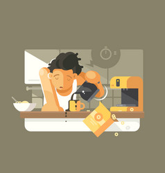 Morning coffee in kitchen vector