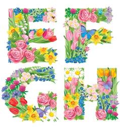 Alphabet of flowers EFGH vector image