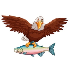Eagle flying with fish in claws vector image vector image