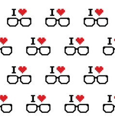 I love geeks glasses seamless pattern vector image