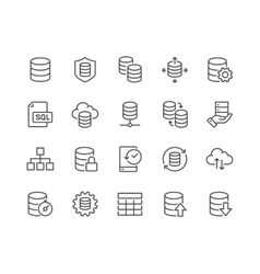 Line Database Icons vector image vector image