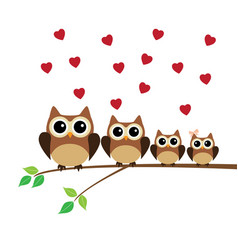 owl family valentine vector image vector image