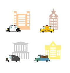 Set cars and buildings Police and Police Station vector image