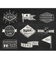 Set of chalk hipster vintage retro labels and log vector image vector image