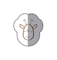 sticker with brown line contour of face of giraffe vector image