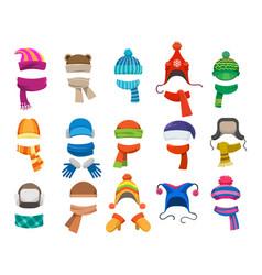 winter or autumn headwear collection vector image