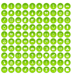 100 crown icons set green circle vector