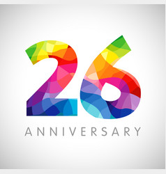 26 anniversary colorful facet logo vector