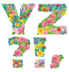 Alphabet of flowers YZ vector