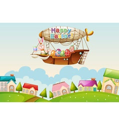 An airship above hills with an easter greeting vector