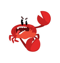 angry crab character cute sea creature with funny vector image