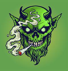 Angry devil marijuana smoke vector