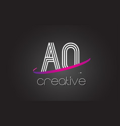 aq a q letter logo with lines design and purple vector image