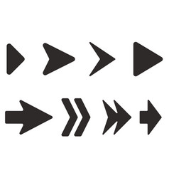 arrows set black flat icons vector image