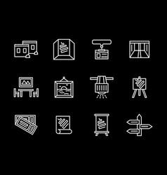 Art showroom white line icons set vector