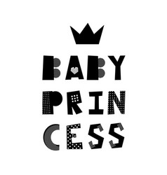 baby princess lettering vector image